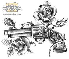 plantilla tatuaje pistola