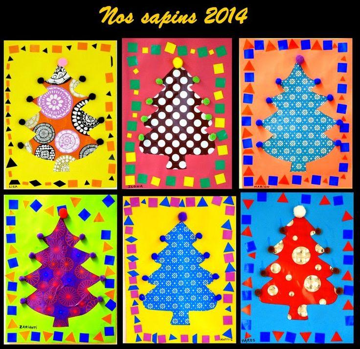 Le Journal de Chrys: Nos beaux sapins de maternelle ( chemise cartonnée découpée au centre en forme de sapin, papier cadeau collé à l'intérieur)