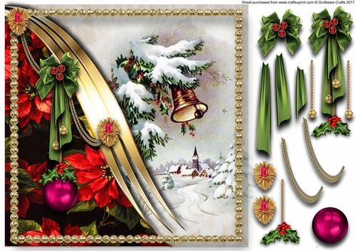 A single sheet making a decoupage card front or a topper.    The main image of Christmas Bells is separated from a colourful poinsettia background by a triple golden metallic swirl. Golden chain swags adorn the swirl with two gem set finials and a large Christmas green bow cluster. Small bauble drops hang from in between the tails of the bow, along with one large bauble hanging from a golden chain and topped with a holly and berry pick.   The whole image is surrounded by a golden stud frame…