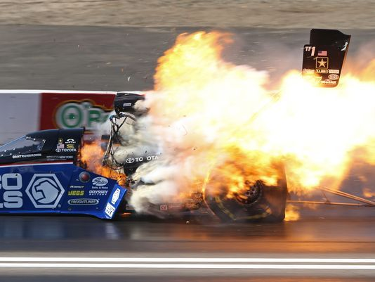 Dragster Crashes | The Top Fuel dragster of Antron Brown explodes after crossing the ...