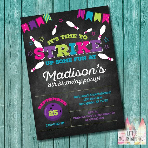 Bowling Birthday Invitation. Bowling Birthday Party Invitation. Girl Bowling…