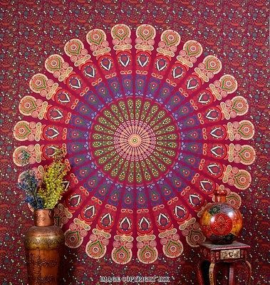 Indian Tapestry Dark Maroon Mandala Bedsheet Ethnic Decor Twin Bedspread JKKUS