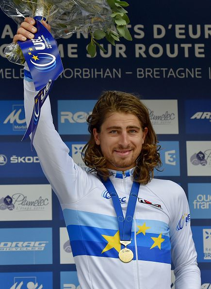 Slovakia's Peter Sagan poses on the podium after winning the Men's Elite Race of…