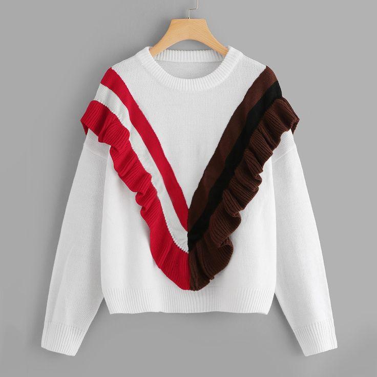 Plus Ruffle Embellished Striped Sweater 15