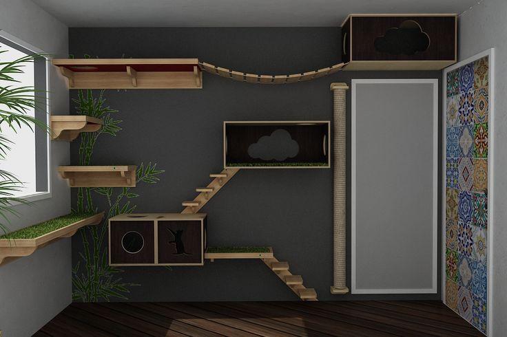 Brinquedo de parede para gatos com toca, escada, prateleira, arranhador grande, ponte e nicho.