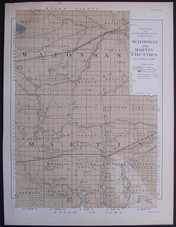 1901 Watonwan & Martin County Minnesota MN Butterfield Madelia