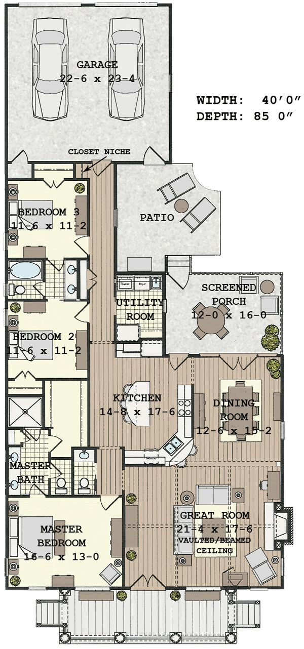superb narrow depth house plans #2: Not what I would have imagined from the facade, but I like this floor plan!  Good for a narrow lot, includes several outdoor spaces, and open living  areas.