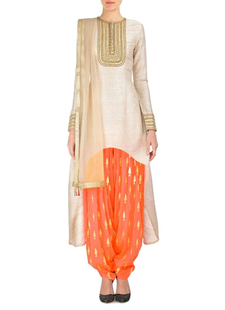 Divine Embroidered Work Raw Silk Punjabi Suit