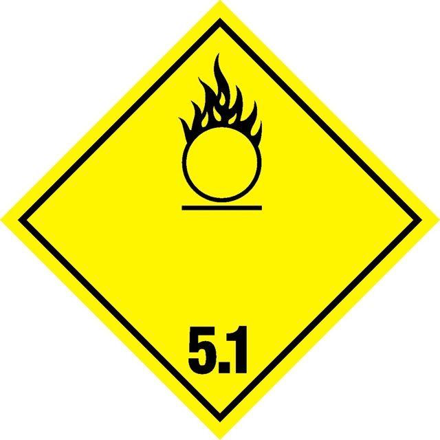 Naklejka Materiały utleniające. Oznaczenie stosowane w transporcie materiałów utleniających określonych w klasie 5 Umowy ADR. Charakterystyka zagrożenia...