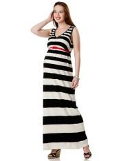 Loved By Heidi Klum Sleeveless Belted Maternity Maxi Dress