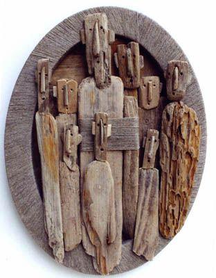 Œuvre en bois flotté de marc Bourlier