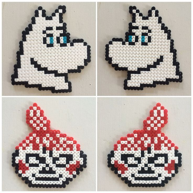 Hama beads perleplade Mumitrold og Lille My ansigt. Faces of Moomin and Little My. Made by Susanne Randers http://mitkrearum.dk