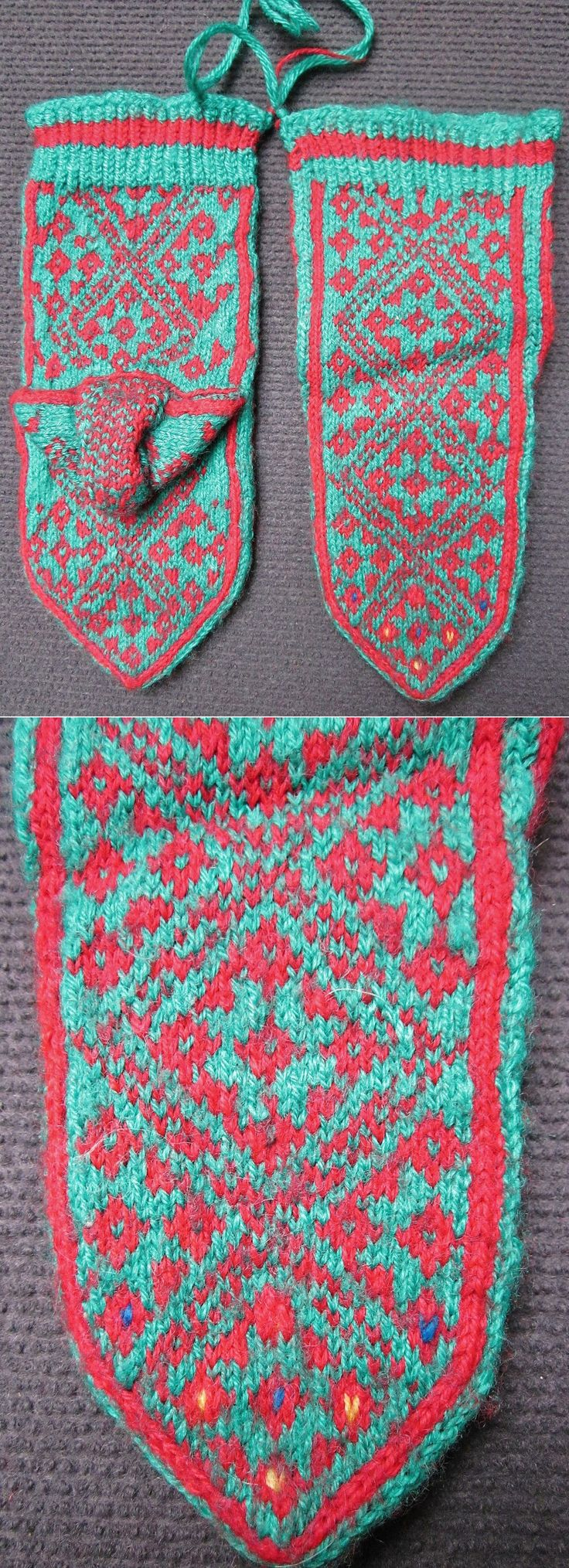 Traditional hand-knitted woollen stockings, for children.   From the Van province.  Kurdish, late 20th century.   The pattern shows several diamond-shaped 'ayna' (mirror), which is an amulet against the evil eye.  (Inv.nr. çor007 - Kavak Costume Collection - Antwerpen/Belgium).