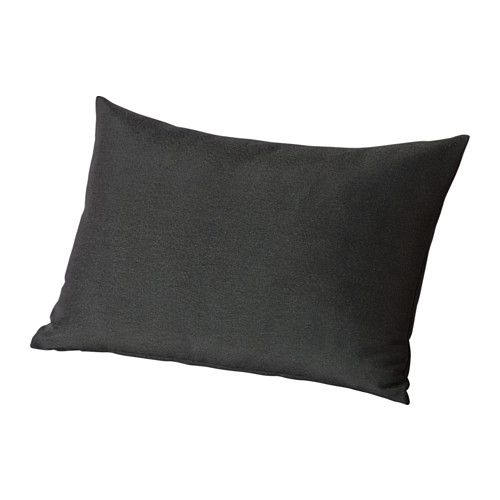 IKEA - HÅLLÖ, Back cushion, outdoor, black, , You can add extra comfort to your garden sofa or chair by using this cushion as a lumbar support or armrest.The cover is easy to keep clean because it is removable and machine washable.The cushion has a longer life because it can be turned over and used on both sides.
