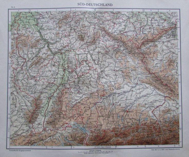 Süd-Deutschland - 35 x 29 cm Karte aus 1913 old map