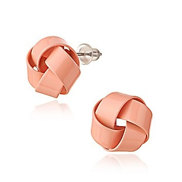 wrap earrings: Beautiful Earrings, Clothing, Pink Earrings, Cute Earrings, Knot Studs, Coral Earrings, Colors Knot, Earrings Sets, Wraps Earrings