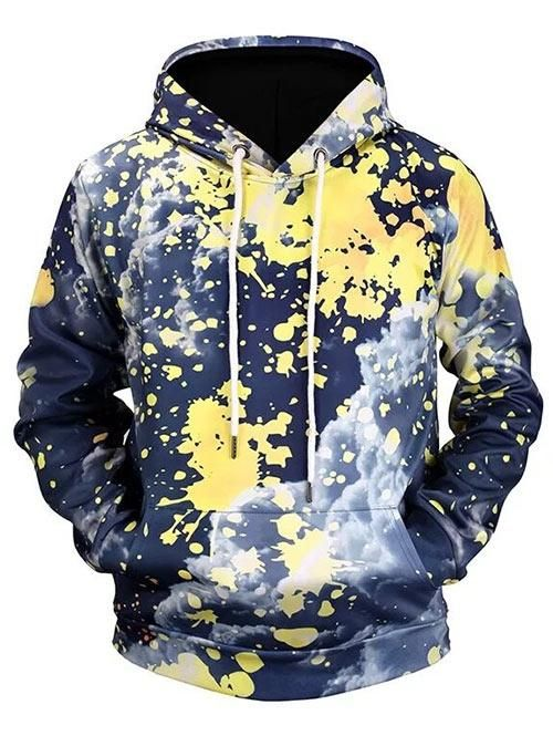 13e0d4161 Men's Cloud Print Splatter Painting Pouch Pocket Pullover Hoodie in ...