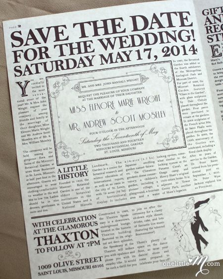 The Daily Proposal, 1920s Themed Vintage Newspaper Wedding
