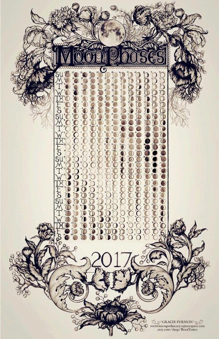 Moon Phase Calendar 2017 by RootTonics on Etsy                                                                                                                                                                                 More