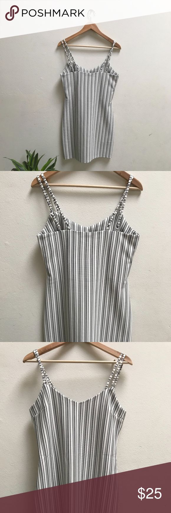 ASOS Women STRIPE ELEVATE DRESS A TIMELESS & CLASSY black and white STRIPED midi dress   * a slight curvy dress (loose fitting) * great for those with beautiful waists and hips  * two straps on each side  * slightly loose for those that are in the small size ASOS (STATE OF BEING) Dresses Midi