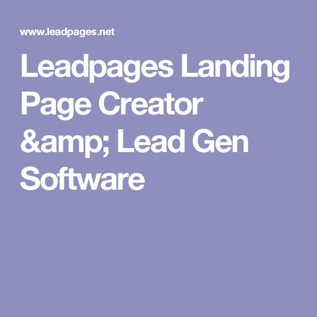 Leadpages Landing Page Creator & Lead Gen Software