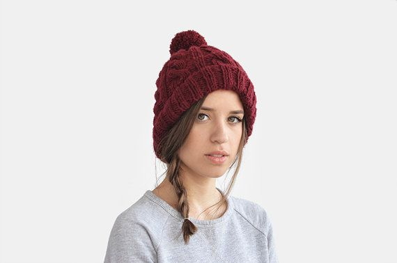 Hand Knit Beanie in Burgundy, Cable Knit Womens Winter Hat with Pom Pom, Unisex Ski Hat, Mens Wool Hat, Custom Color / Hand Knitted on Etsy, $32.63