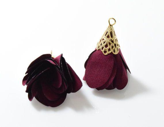 Burgundy Chiffon Tassel, Flower Tassel, Rose Pendant . Jewelry Craft Supply . 16K Polished Gold Plated over Brass Cap - 2pcs / RG0059-PGBD