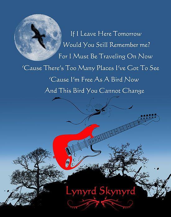 ☮ American Hippie Art Rock Music Lyrics ~ Free Bird - Lynyrd Skynyrd