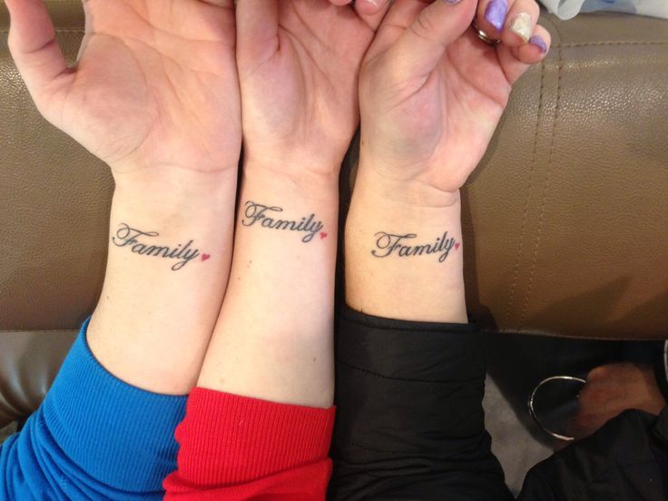 Three tattoos for three sisters tattoos pinterest for Sister tattoos for 3