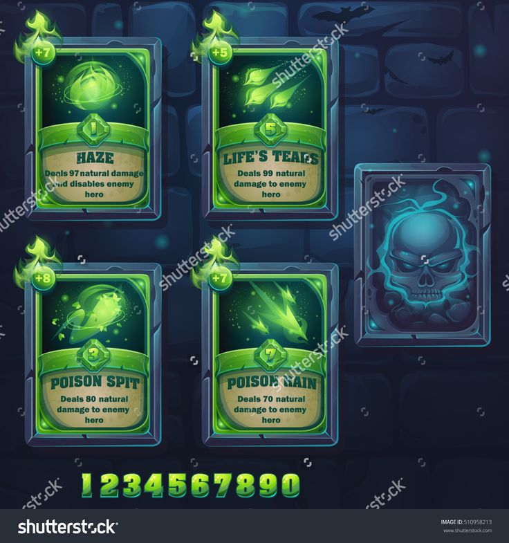 Set Spell Cards Of Haze, Life'S Tears, Poison Spit, Poison Rain. For Web, Video Games, User Interface, Design Стоковая векторная иллюстрация 510958213 : Shutterstock