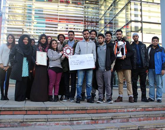 An award for raising the most money in the Midlands during Charity Week has been given to the Islamic Society at De Montfort University Leicester.