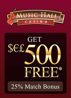 Music Hall Casino ​this is one casino that caters for the elegance in all of us, with its beautiful and luxurious graphics and sounds. Once you register for a Real Money Account in Music Hall Casino, we will give you the highest reward for simply choosing wisely and deciding to play in one of the top Online Casinos