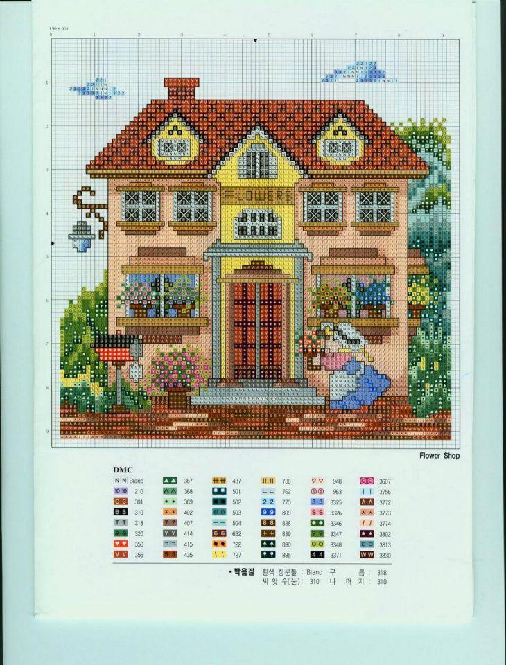 44 best Houses images on Pinterest Cross stitch house, Punto croce - plan de maison en v gratuit