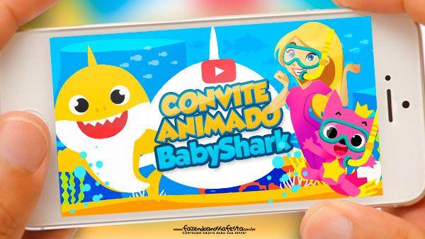Convite Animado Baby Shark Gratis Pronto Para Baixar Convite