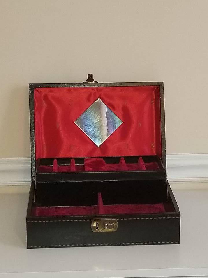 Mid Century Jewelry Box,Black Jewelry Case,2 Level Compartments,Velvet,Jewelry Suitcase,Jewelry Case,Lady Buxton,Vinyl Dresser Box,1950s