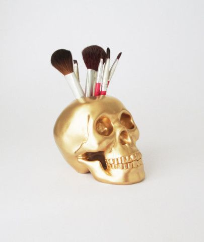 Skull Brush Holder, $26