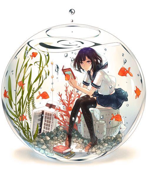 「水色」/「phantania@ツイート」のイラスト [pixiv]  二年前himanoさんが描いた「金魚ガール」が見ました。その発想はとっても美しいだと思って、ずっと水の中の女の子が描いたかったです。今回やっと描いてみました。http://www.pixiv.net/member_illust.php?mode=medium&illust_id=41891828