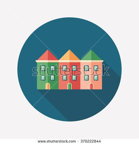 Colorful townhouses flat round icon with long shadows. #buildingicon #flaticons #vectoricons #flatdesign