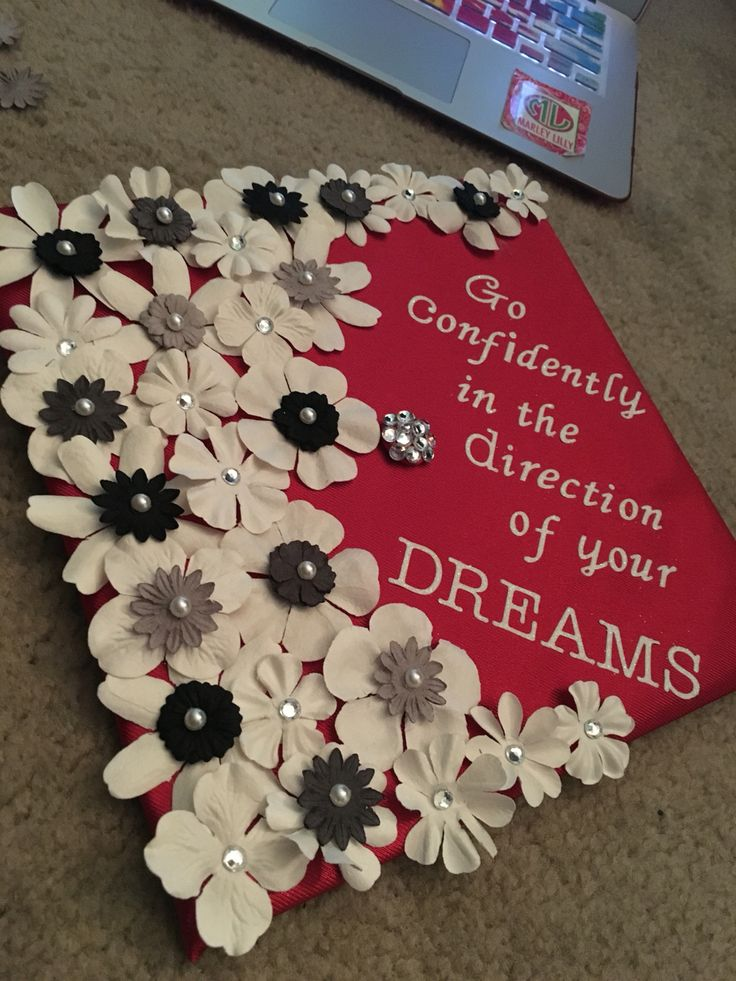 Flower Graduation Cap, Miami University, go confidently in the direction of your dreams, graduation, senior, flowers, rhinestones, red, white, black, grey, gray, pretty