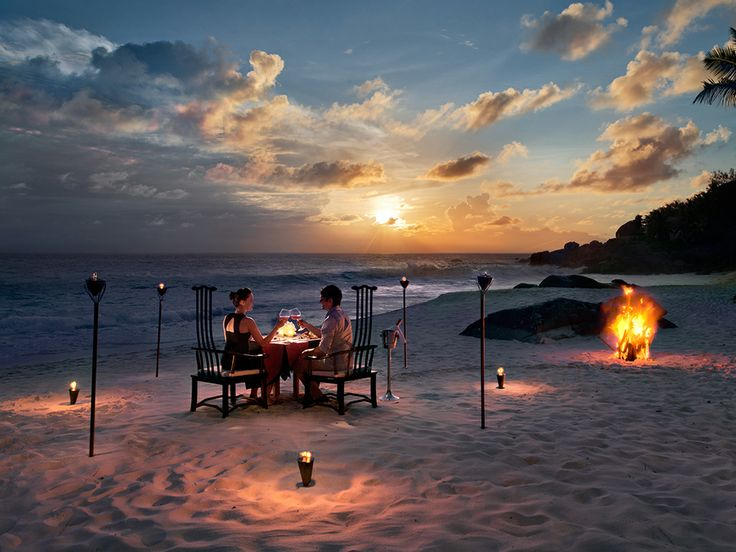 For the ultimate in intimate dining, sit down at dusk at your private table-for-two on the beach. The Banyan Tree, #eychelles #BucketList #Beach #Safari #Africa #Holiday #Travel #Ocean #Adventure #Romantic #Honeymoon #Island