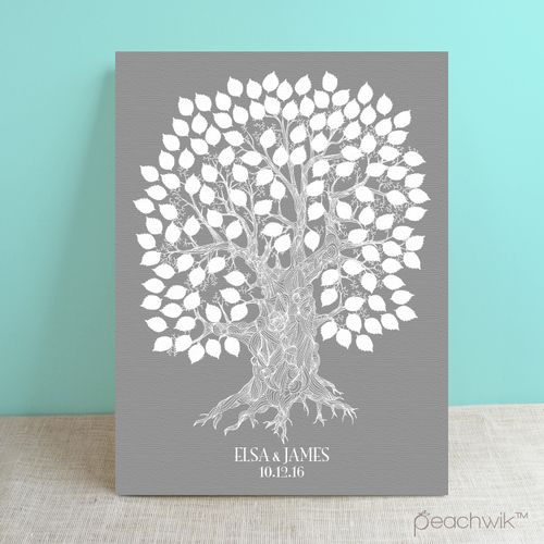 Oakwik Wedding Tree Guest Book - Oak Tree Guestbook Print - By Peachwik | Wedding Colors: Grey, Silver, White | Canvas
