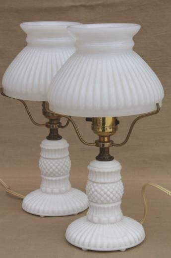 vintage milk glass table lamps, pair boudoir lamp bases w/ white milk glass student shades
