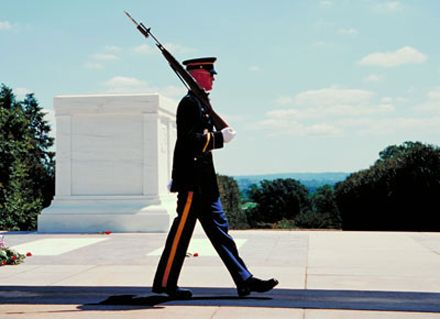 I watched the changing of the guard at the Tomb of the Unknown Soldier