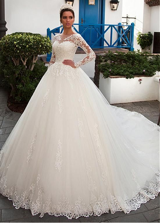 Magbridal Gorgeous Tulle Bateau Neckline Ball Gown Wedding Dress With Lace Appli…