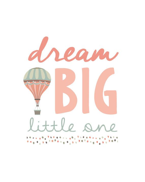 INSTANT DOWNLOAD- Dream Big Little One Nursery Wall Art Poster, Hot Air Balloon Girl Coral & Mint Baby Shower Gift, Bedroom Decor, Printable...