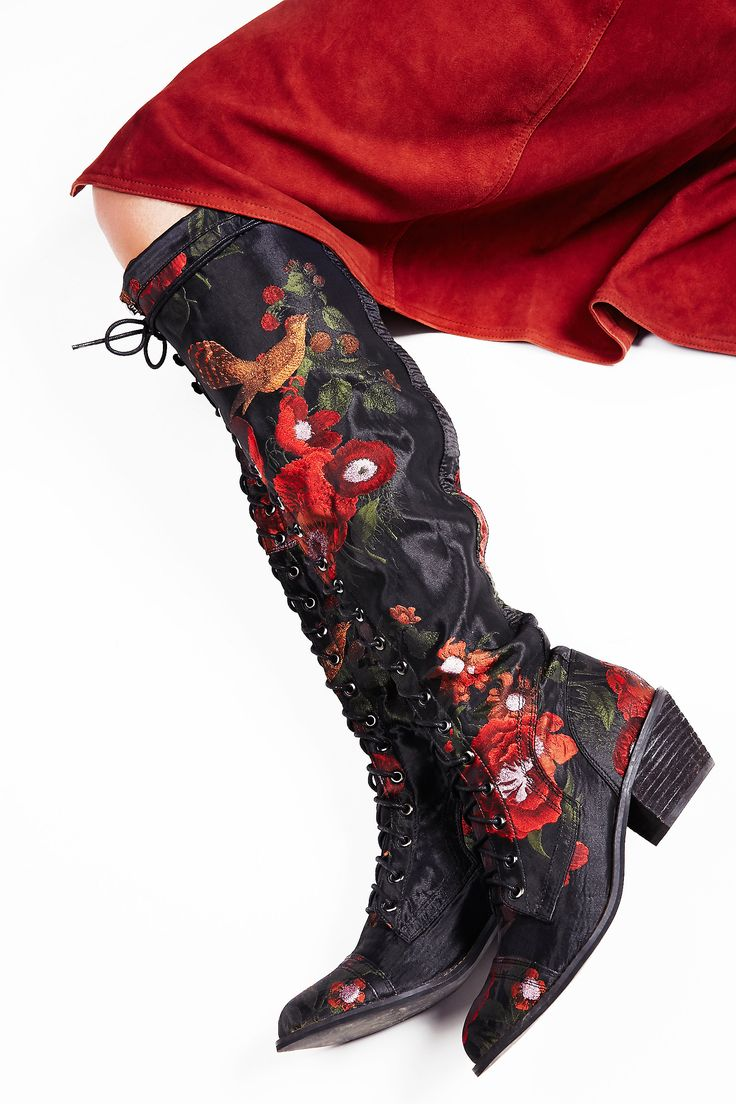 Floral Joe Lace Up Boot | Fabric version of FP fave Joe Lace Up Boot, these over-the-knee lace-up boots are feature a floral pattern. Metal eyelet detailing and a short zipper on the inner sides for an easy on-off. Stacked heel.