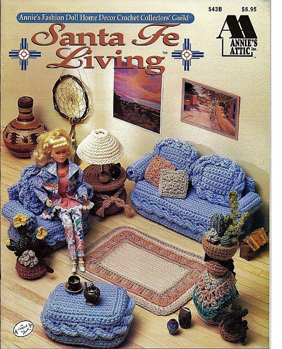 Barbie Furniture, Santa Fe Living, Annies Attic Crochet Furniture Pattern. $9.00, via Etsy.