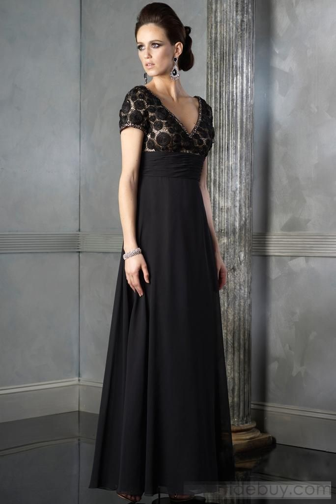 Empire Lace V-Neck Floor-Length Mother of the Bride Dresses (3E0144)