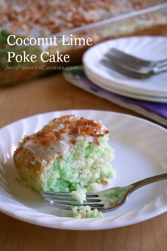 Coconut Lime Poke Cake from Jen's Favorite Cookies #green #stpatricksday