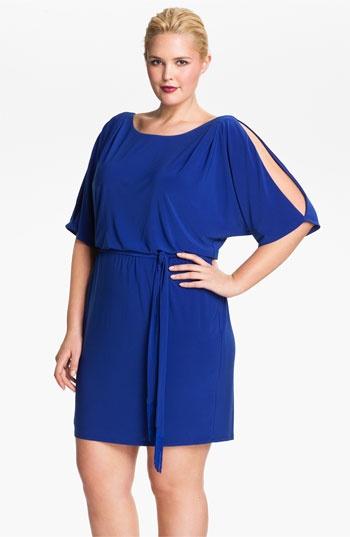 Jessica Simpson Cold Shoulder Matte Jersey Blouson Dress